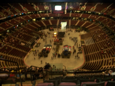 The view from our seats in the nosebleeds.