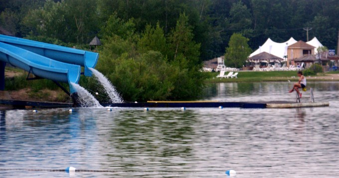 This is the first time I've been on waterslides that empty into a lake. A great idea, despite the lake water in my sinuses.
