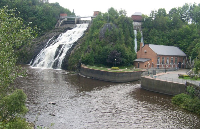 Parc des chutes waterfall and power station. We left as the thunder started.