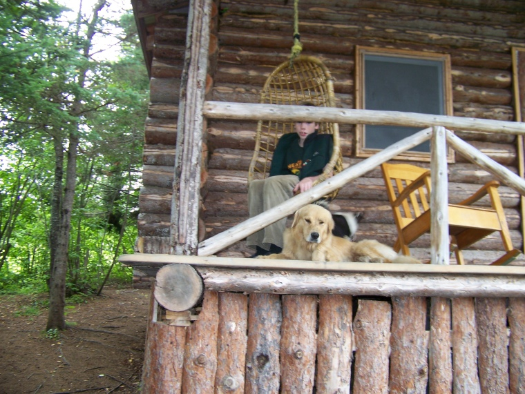 Chillin' with Buddy and Kira at the trapper's cabin.