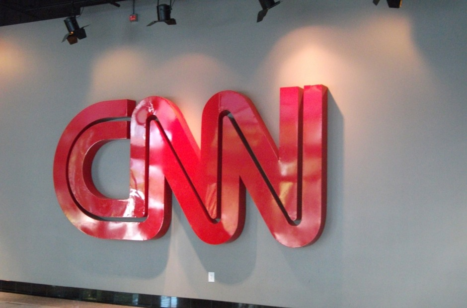 Just inside the doors at CNN.