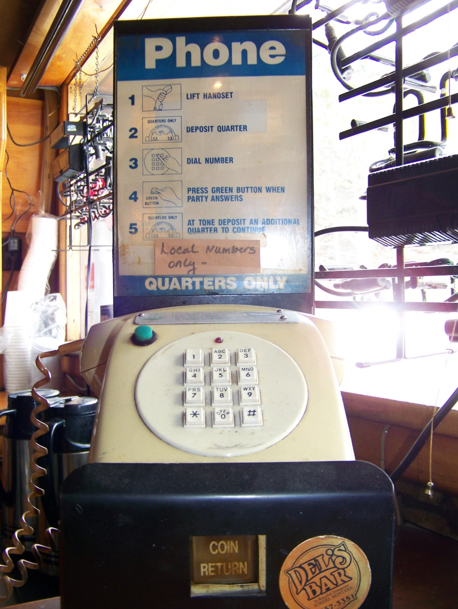 A pay phone at a bar in The Middle of Nowhere, Montana