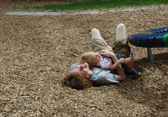 Even though he wasn't feeling well, Trev played with Jilly at a park on the University of Wyoming campus.