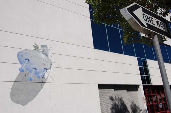 Alien Crash Trompe-l'Oeil Mural in Palo Alto, Calif.