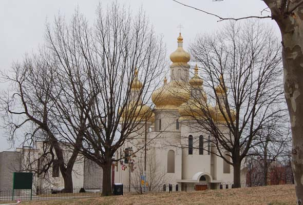 This beautiful Ukrainian Catholic Church was across the street from Patterson Park.