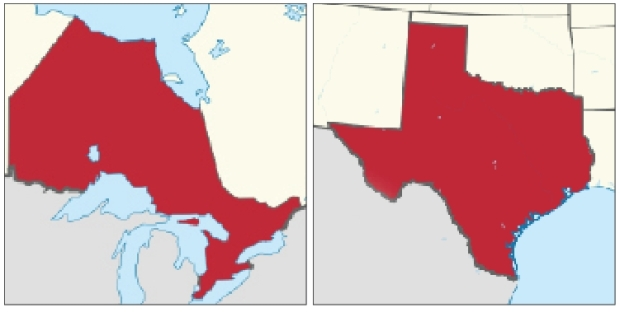 Ontario (left) and Texas maps courtesy Google Maps.