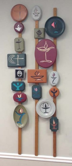 Chalice art at the Goodloe Unitarian congregation in Bowie, Md.