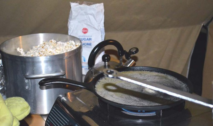 Popcorn in the rain? Certainly one of the highlights of my glamping experience.
