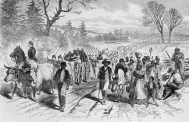 An 1863 image in Harper's Weekly shows freedmen in North Carolina. Image via the Library of Congress