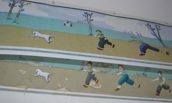 Van Horne painted a border in grandson Billy's bedroom. It is peeling and falling apart, so the province has hung a reproduction near it until proper restoration can take place.