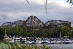 La Monstre is the largest wooden two-track roller coaster in the world. The sound of the cars clanking up that first hill is the sound of summer to my ears.
