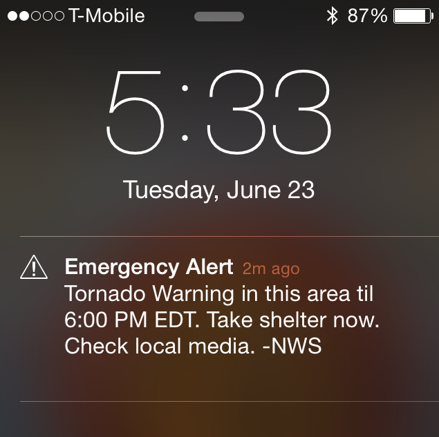 iphone tornado warning