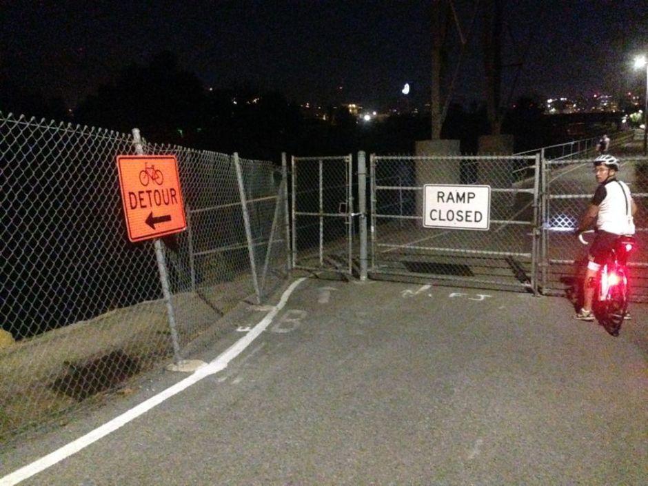 la bike path ramp closed