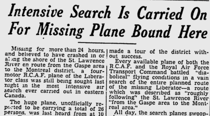 The Montreal Gazette of Oct. 22, 1943.