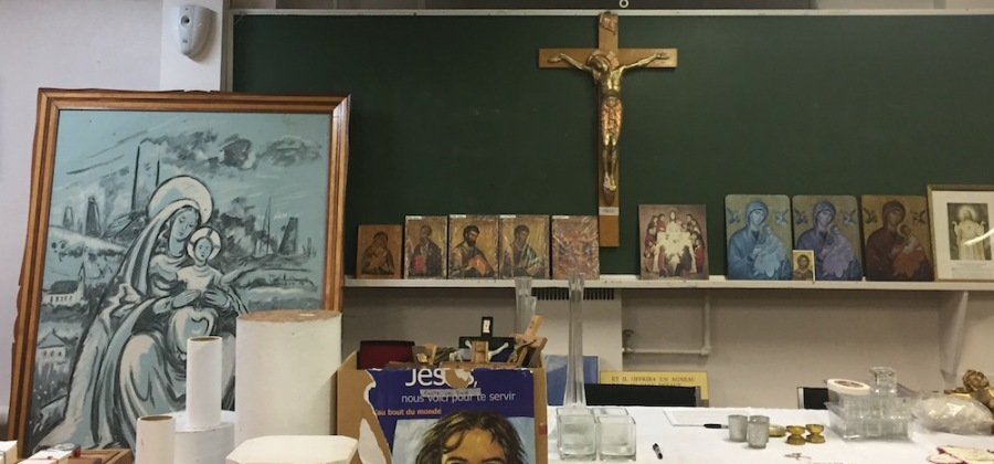 One of the basement rooms at Domaine St-Viateur is a treasure trove of religious items.