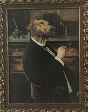 This spectacular dog painting hangs on the wall of the former seminary Domaine St-Viateur.